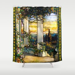 """Louis Comfort Tiffany """"Howell Hinds House Window"""" Shower Curtain"""