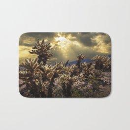 Cholla Cactus Garden bathed in Sunlight in Joshua Tree National Park California Bath Mat