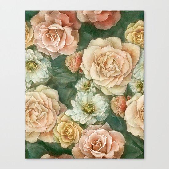 Floral rose pattern Canvas Print