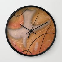 religious Wall Clocks featuring The Dove Religious Abstract Art By Saribelle  by Saribelle Inspirational Art
