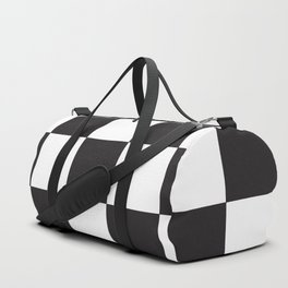 Black and White Checkered Pattern Duffle Bag