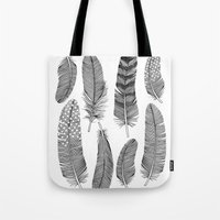 feathers Tote Bags featuring Feathers by Holly Trill