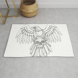 American Eagle Clutching Skull Doodle Rug