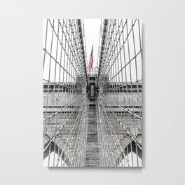 The Brooklyn Bridge and American Flag Metal Print