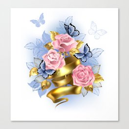 Pink Roses with Gold Ribbon Canvas Print