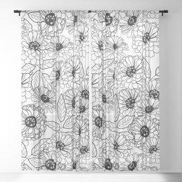 Black and White Zinnias Sheer Curtain