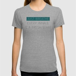 Just Breathe - Teal Typography T-shirt