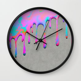 Pink Dripping Paint on Grey Wall Clock