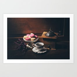 Vintage still life with coffee items Art Print