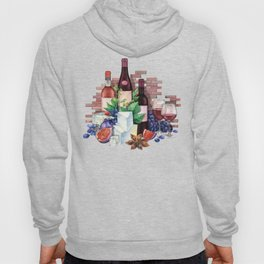 Watercolor wine glasses and bottles decorated with delicious food Hoody