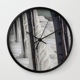 Ice Formation Catwalk Support South Haven Pier Lake Michigan Winter Wall Clock
