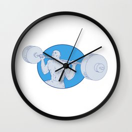 Strongman Powerlifting Barbell Drawing Wall Clock