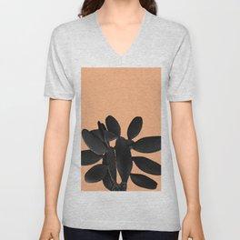 Black Pastel Orange Cacti Vibes #1 #plant #decor #art #society6 Unisex V-Neck