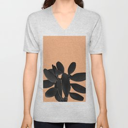 Black Pastel Orange Cacti Vibes #1 #plant #decor #art #society6 Unisex V-Neck