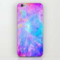 nebula iPhone & iPod Skins featuring Orion nebulA : Bright Pink & Aqua by 2sweet4words Designs