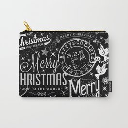 Black and White Christmas Typography Design Carry-All Pouch