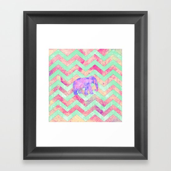 Whimsical Purple Elephant Mint Green Pink Chevron Framed Art Print