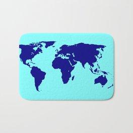 World Silhouette In Blue Bath Mat