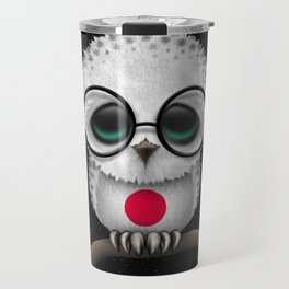 Baby Owl with Glasses and Japanese Flag Travel Mug
