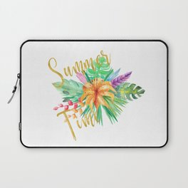 Tropical leaves and flowers summer time gold brush script Laptop Sleeve
