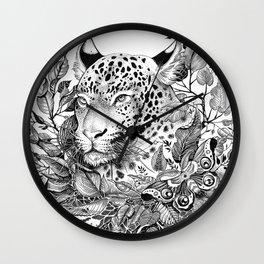 black and white jungle leopard Wall Clock