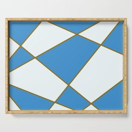Geometric abstract - blue and brown. Serving Tray