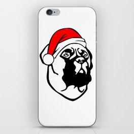 Bullmastiff Dog with Christmas Santa Hat iPhone Skin