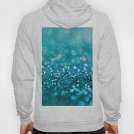 Teal turquoise blue shiny glitter print effect - Sparkle Luxury Backdrop Hoody