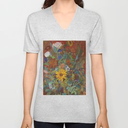 flower 2【Japanese painting】 Unisex V-Neck