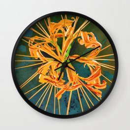 Yellow Spider Lily Watercolor Floral Art Wall Clock