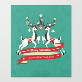 Christmas Deers with baubles Canvas Print
