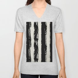 Simply Cream and Black Stripes II Unisex V-Neck