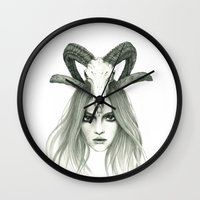 zodiac Wall Clocks featuring Zodiac - Aries by Simona Borstnar