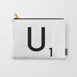 Letter U - Custom Scrabble Letter Tile Art - Scrabble U Initial Carry-All Pouch