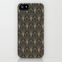Art Deco Vector in Charcoal and Gold iPhone Case