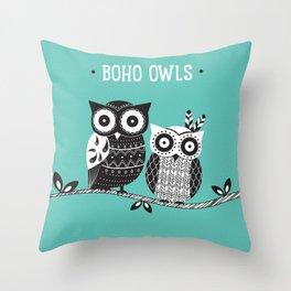 Boho Owls Throw Pillow