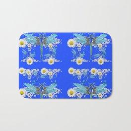 BLUE DRAGONFLIES REPEATING  DAISY FLOWERS  ART Bath Mat