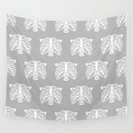 Human Rib Cage Pattern Gray Wall Tapestry
