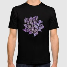 Floral Abstract 13 Black X-LARGE Mens Fitted Tee