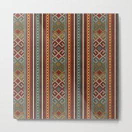 Oriental Kilim Teal, Mustard and Red Metal Print