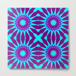 Purple & Aqua Pinwheel Flowers Metal Print