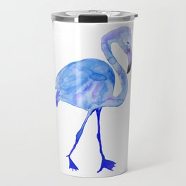 Blue Watercolor Flamingo Travel Mug