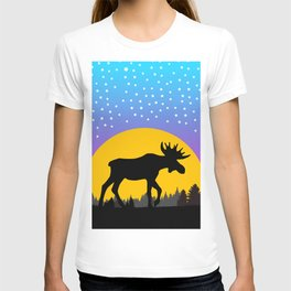 Moose Moon Light Pink and Light Blue T-shirt