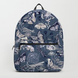 Dragonflies, Butterflies and Moths With Plants on Navy Backpack