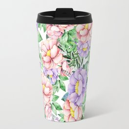 Hand painted lavender coral green watercolor floral Travel Mug