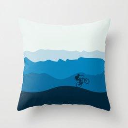 MTB Mountain Bike Cycling the Mountains Throw Pillow