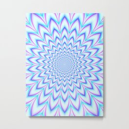 Crinkle Cut Pulse in Pale Blue and Pink Metal Print