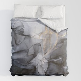Calm but Dramatic Light Monochromatic Black & Grey Abstract Comforters