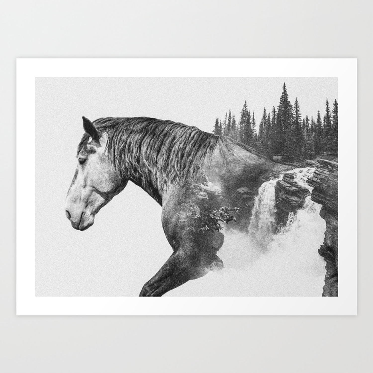 Horse Abstract Photography Art Black And White Animal Double Exposure B W Fog Art Print By Wildhood Society6