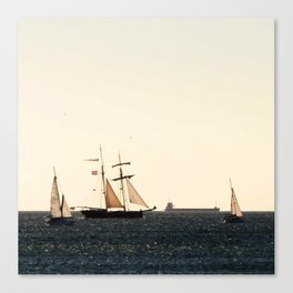 Sailboats in a windy day Canvas Print